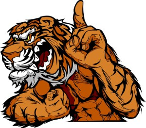 13208864 - cartoon vector mascot image of a tiger flexing arms and holding up champion finger